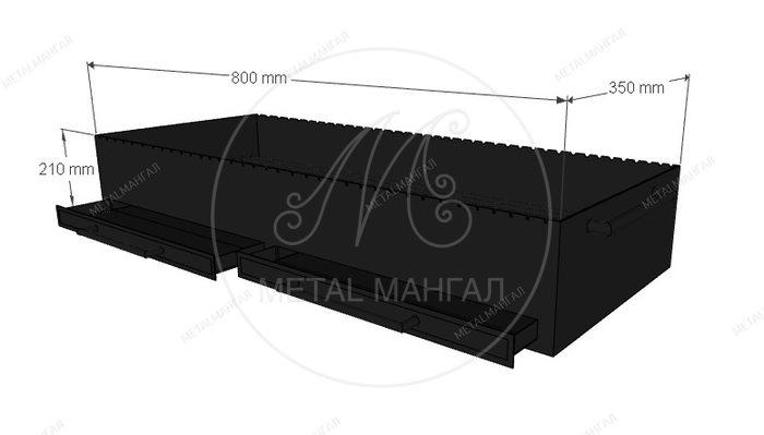 Жаровня с ящиком  800 х 350 х 210