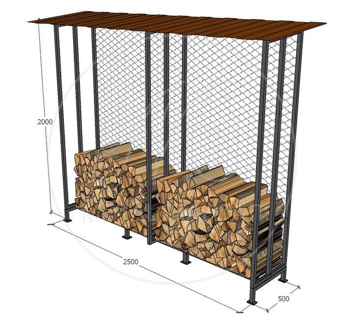 Уличный дровник с сеткой 250 х 50 х 200 объем 2.5 куб