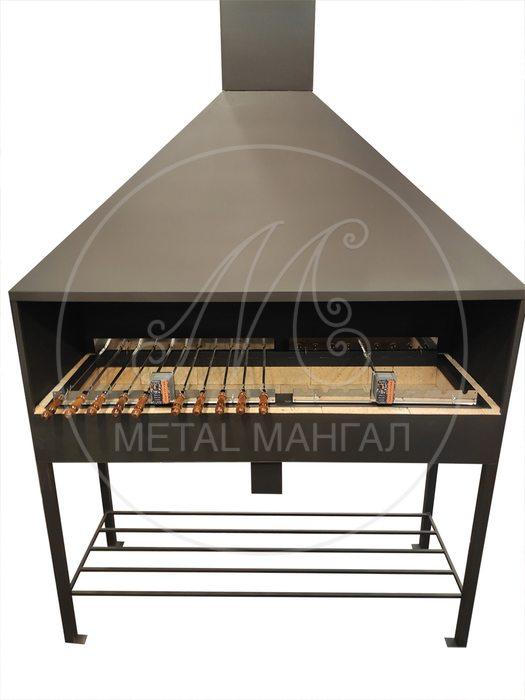Мангал с кирпичом 1500х450 с крутящимися шампурами